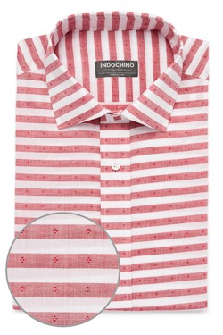 Red Chambray Stripe Dobby Shirt
