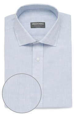 Ice Blue Linen Dobby Shirt