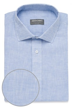 Light Blue Linen Dobby Shirt