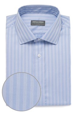 Light Blue Herringbone Stripe Shirt