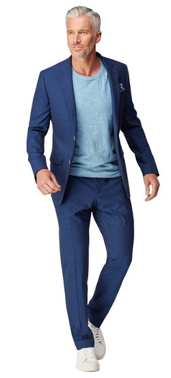 Men's Custom Suits - Wool Stretch Navy Blue Suit | INDOCHINO