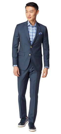 Premium Blue Sharkskin Suit