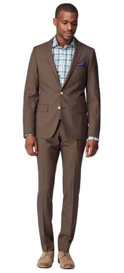 Tobacco Sharkskin Suit