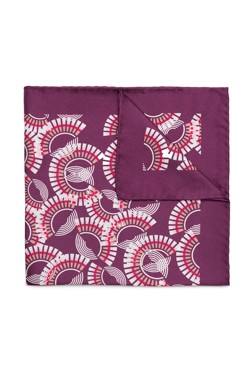 Burgundy Abstract Fan Pocket Square