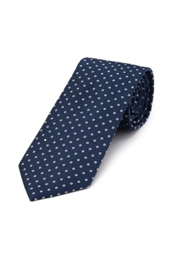 Navy and Silver Circle Tie