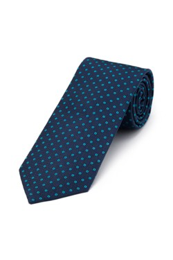 Navy and Teal Circle Tie