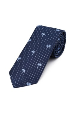 Navy Palms Pin Dot Tie