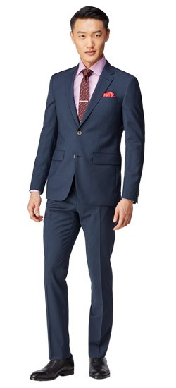Navy Basket Check Suit