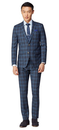 Navy and Slate Windowpane Suit