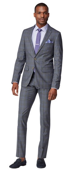 Gray with Lavender Windowpane Suit