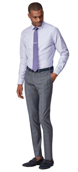 Gray with Lavender Windowpane Pants