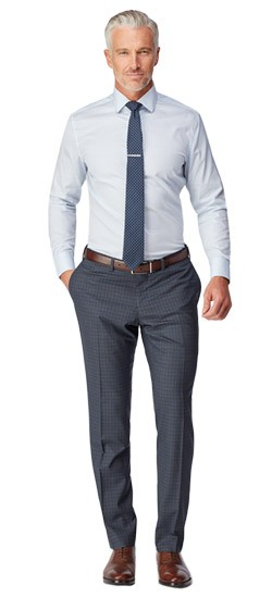 Charcoal with Blue Overcheck Pants