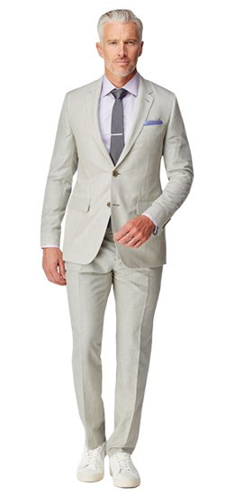 Gray Chambray Striped Suit