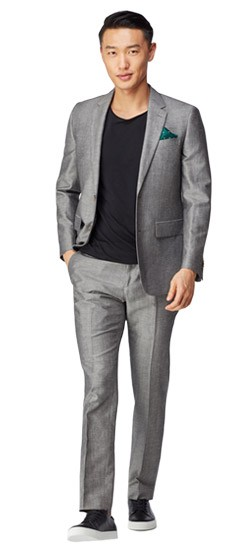 Charcoal Chambray Wool Linen Suit