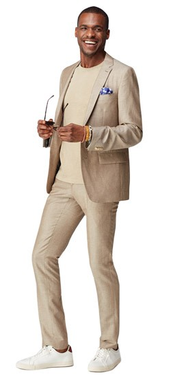 Sand Chambray Wool Linen Suit