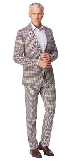 Burgundy Check Wool Cotton Suit