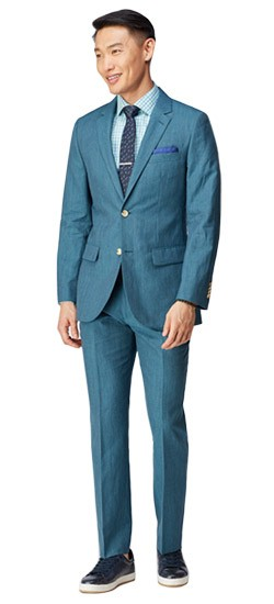 Slate Teal Fineline Wool and Linen Suit