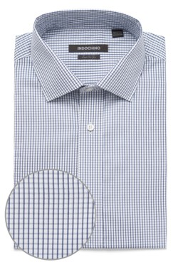 White and Navy Graph Check Shirt