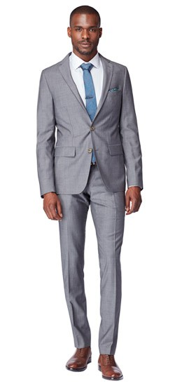 Premium Medium Gray Sharkskin Suit