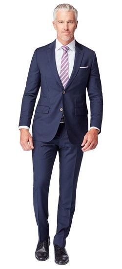 Premium Navy Blue Sharkskin Suit