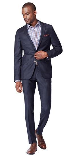 Midnight Shadow Banker Stripe Suit