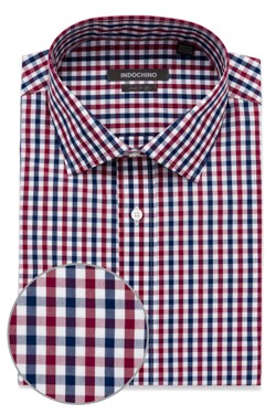 Navy and Cranberry Gingham Shirt