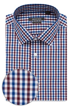 Blue and Burgundy Gingham Shirt