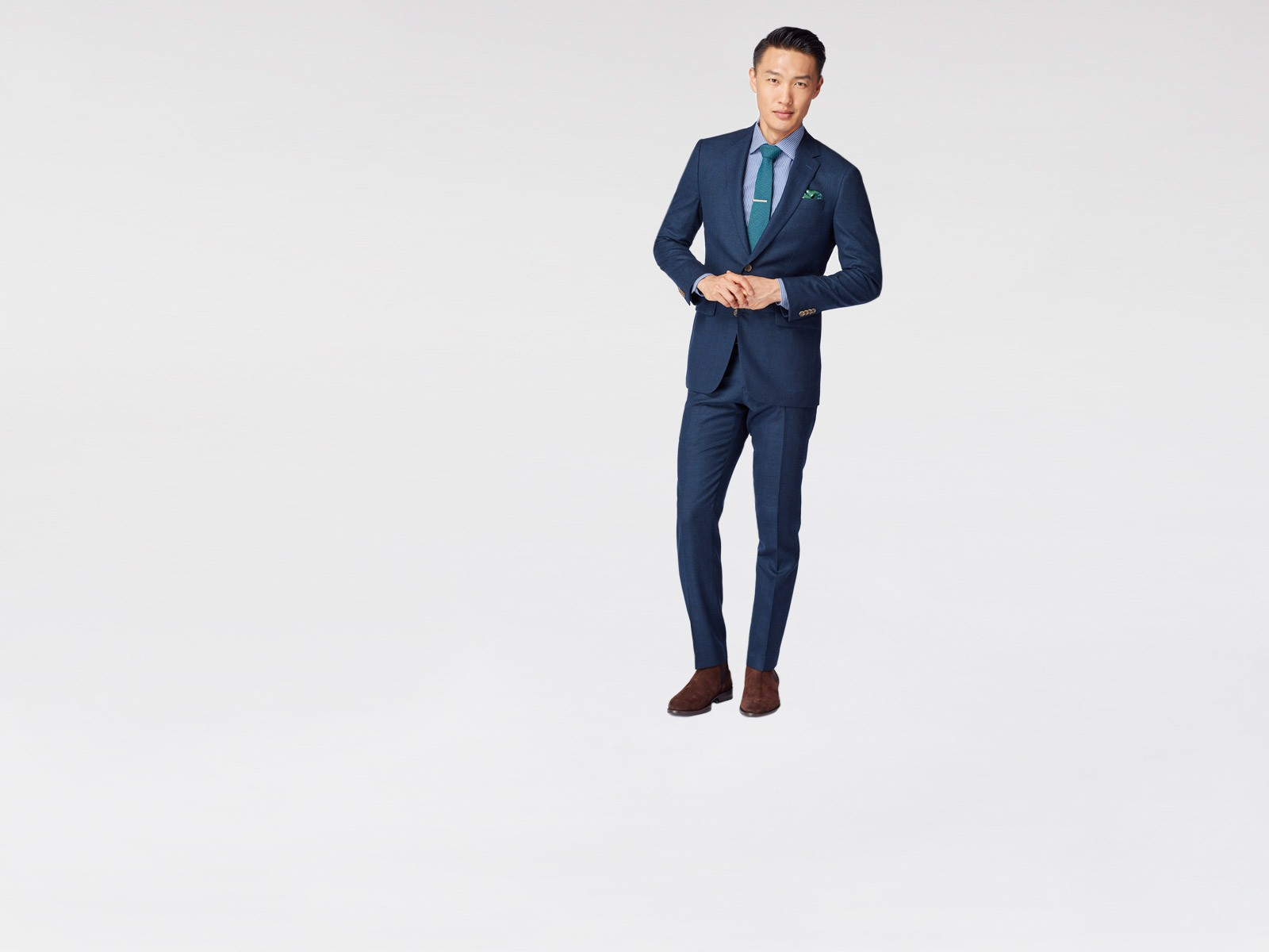 Autumn Indigo Basketweave Suit