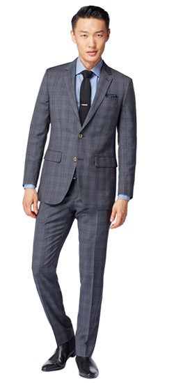 Dark Gray Plaid Suit