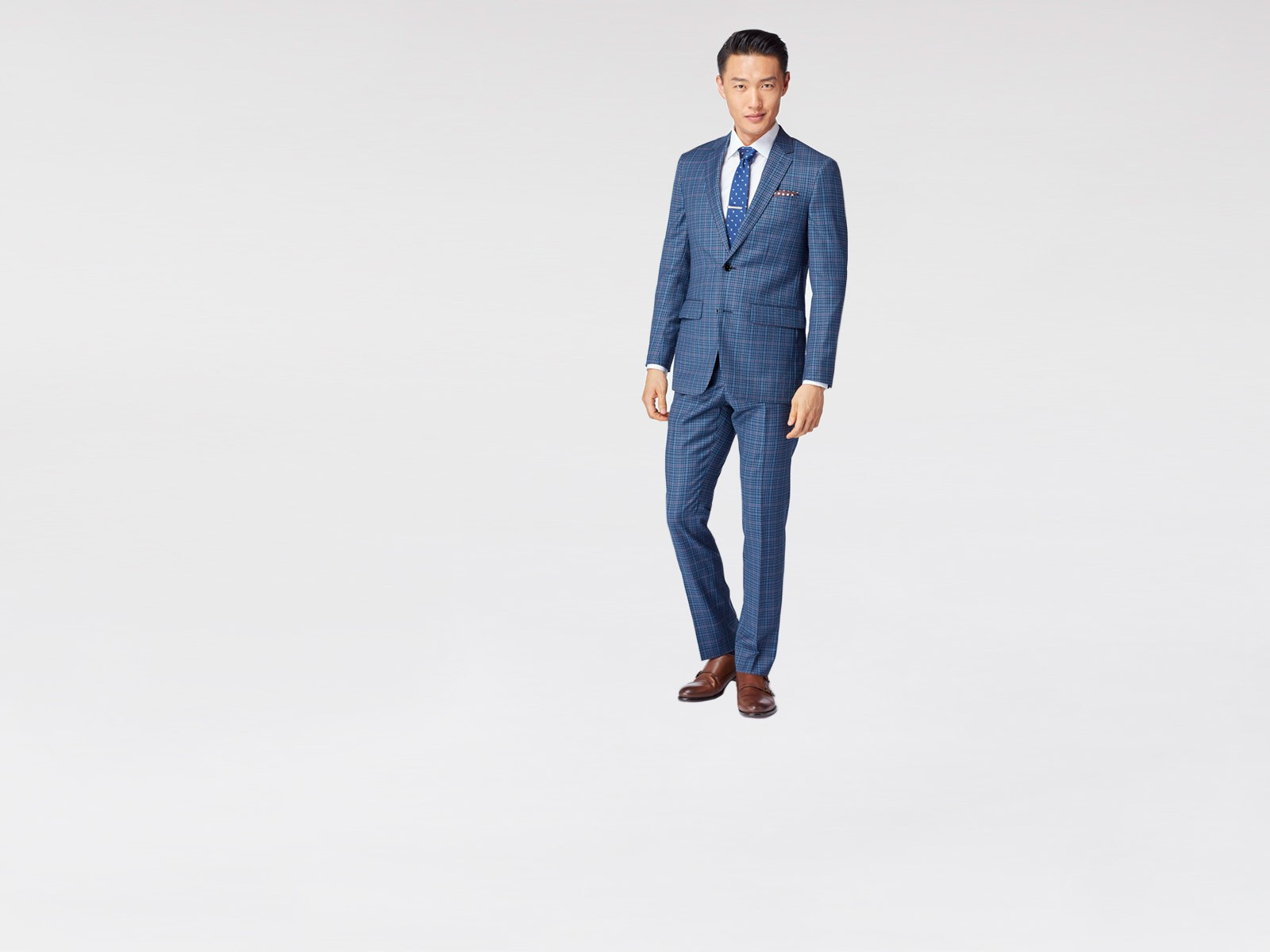 Blue Micro Check Windowpane Suit