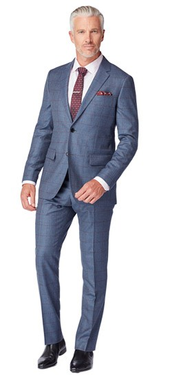 Chambray and Burgundy Windowpane Suit