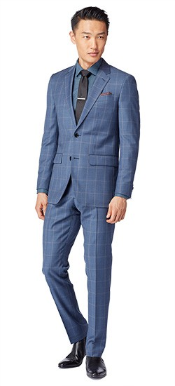 Chambray Blue Windowpane Suit