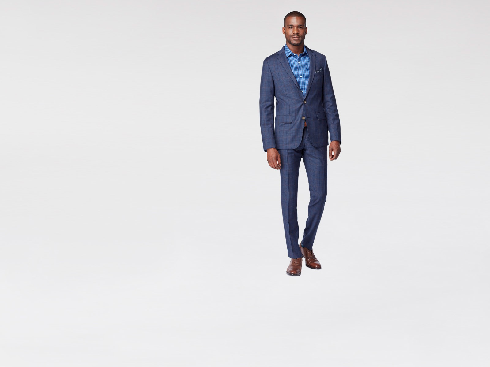 Navy Chestnut Plaid Suit