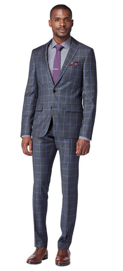 Charcoal and Lavender Windowpane Suit