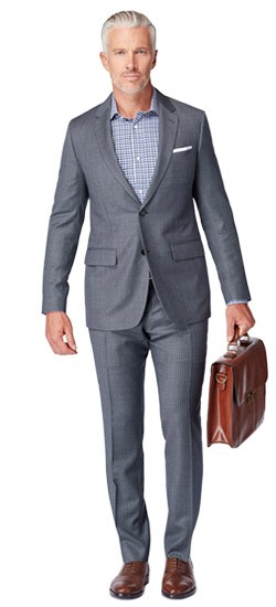 Gray Birdseye Stripe Suit