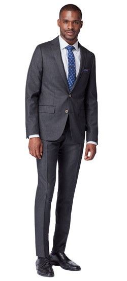 Charcoal Mini Check Twill Suit