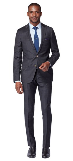 Charcoal Fineline Windowpane Suit