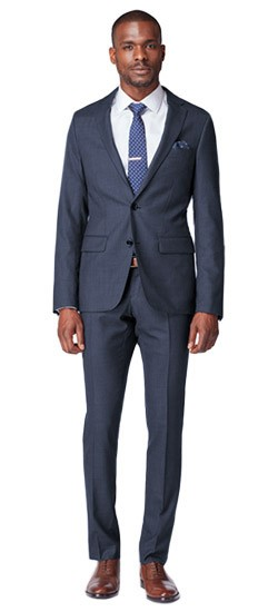 Premium Medium Indigo Sharkskin Suit