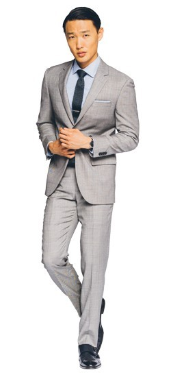 Hayle Sharkskin Light Gray Suit