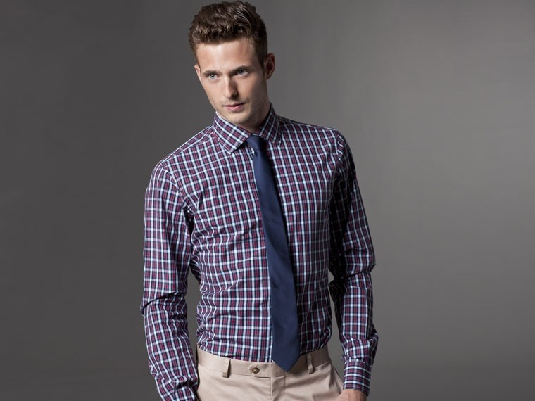 Office Explorer Blue and Red Gingham Dress Shirt 1