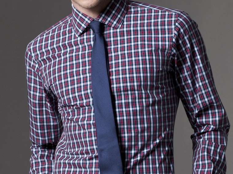 Office Explorer Blue and Red Gingham Dress Shirt 2