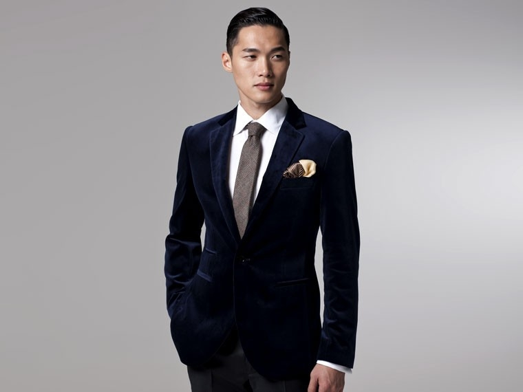 The Regency Navy Velvet Blazer