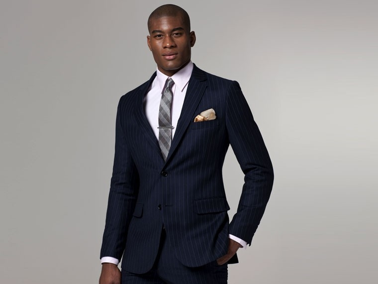 Navy, Purple & Blue Flannel Pinstripe Suit