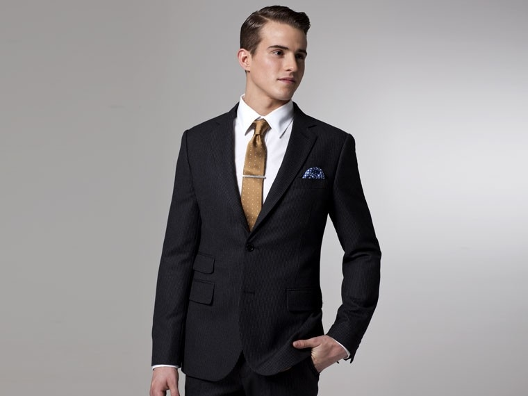 Charcoal Flannel Pinstripe Suit 1