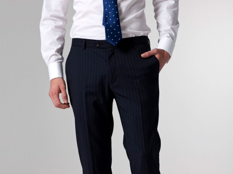 Falcero Blue Pinstripe Dress Pants
