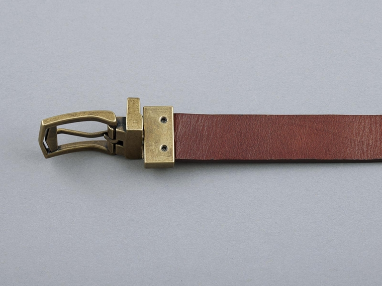 brown reversible thin leather belt