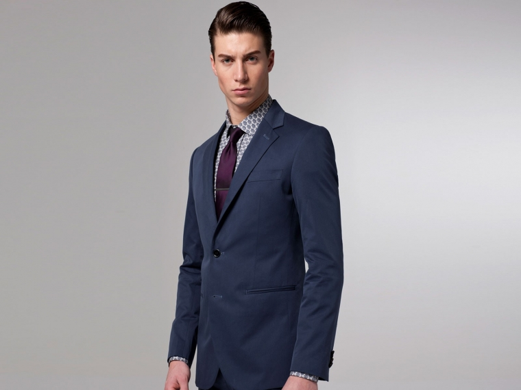 The Voyager Blue Cotton & Silk Suit