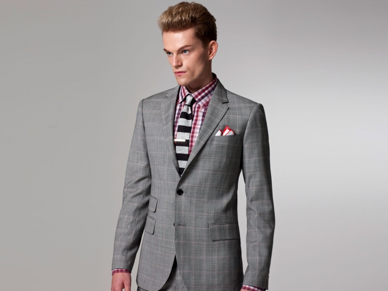 Checked Pink Windowpane Suit 1