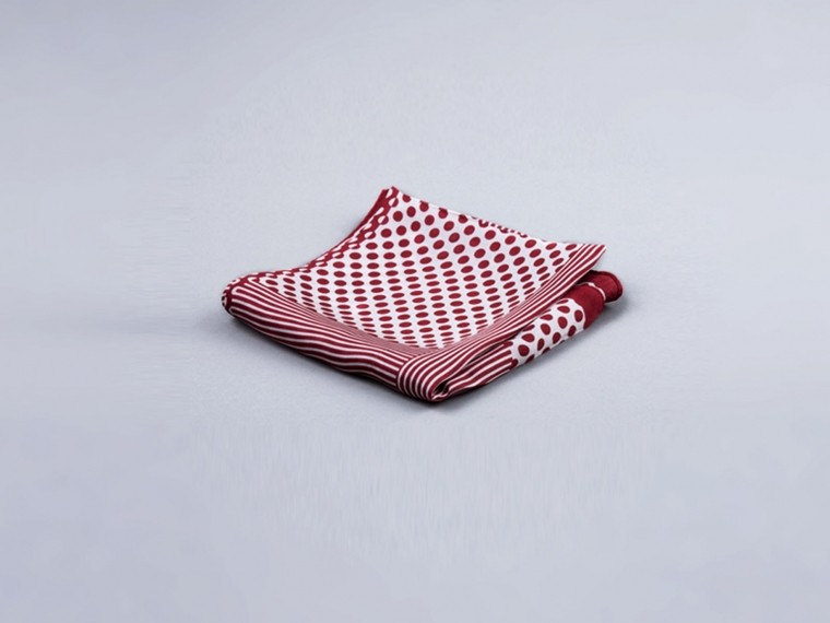 Burgundy Patterns Silk Pocket Square 1