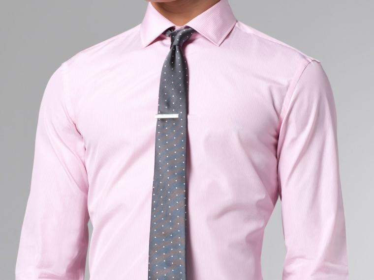 Thomas Mason for Indochino Pink Mini Pinstripe Shirt